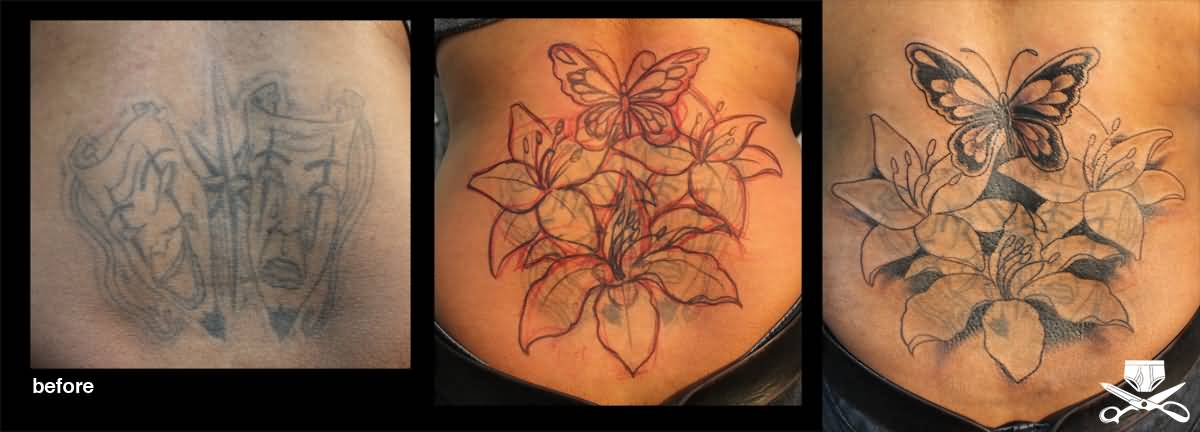 Awesome Lily Flowers With Butterfly Cover Up Tattoo On