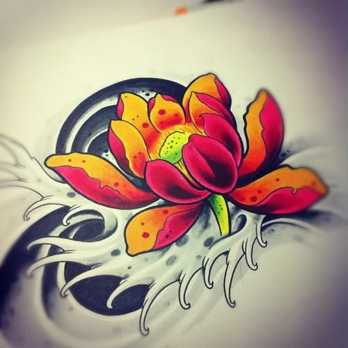 Awesome Lotus Flower Tattoo Design By Willemxsm