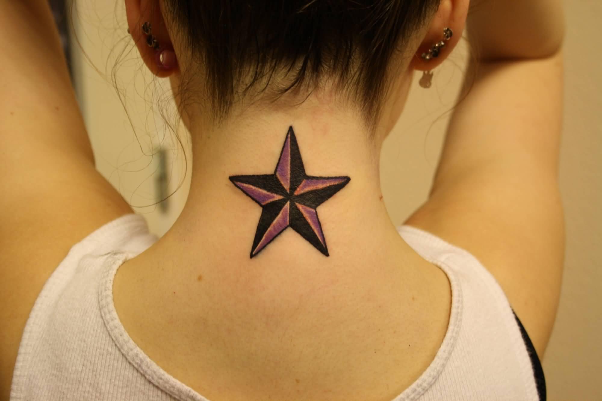 Awesome Nautical Star Tattoo On Girl Nape