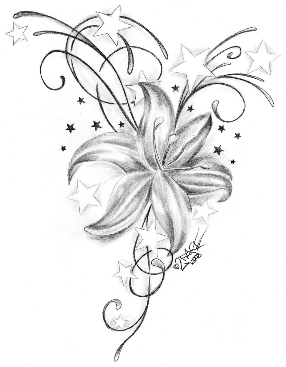 26 lily tattoos designs awesome outline stars and grey lily tattoo design izmirmasajfo