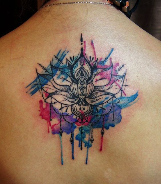 Awesome Watercolor Lotus Flower Tattoo On Upper Back