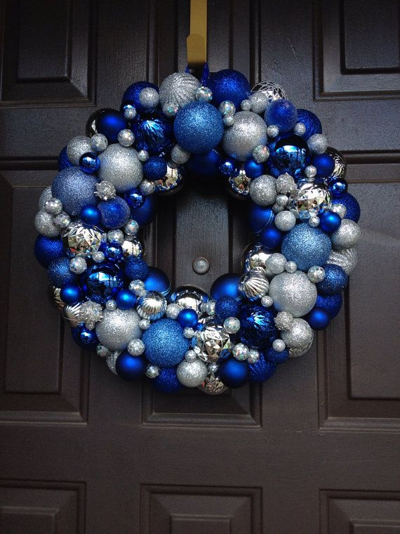 beautiful blue and silver christmas ornament wreath decoration