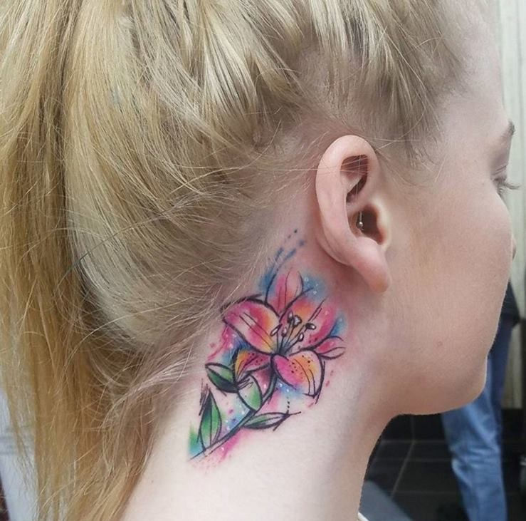 920538a716039 Beautiful Watercolor Lily Tattoo On Side Neck