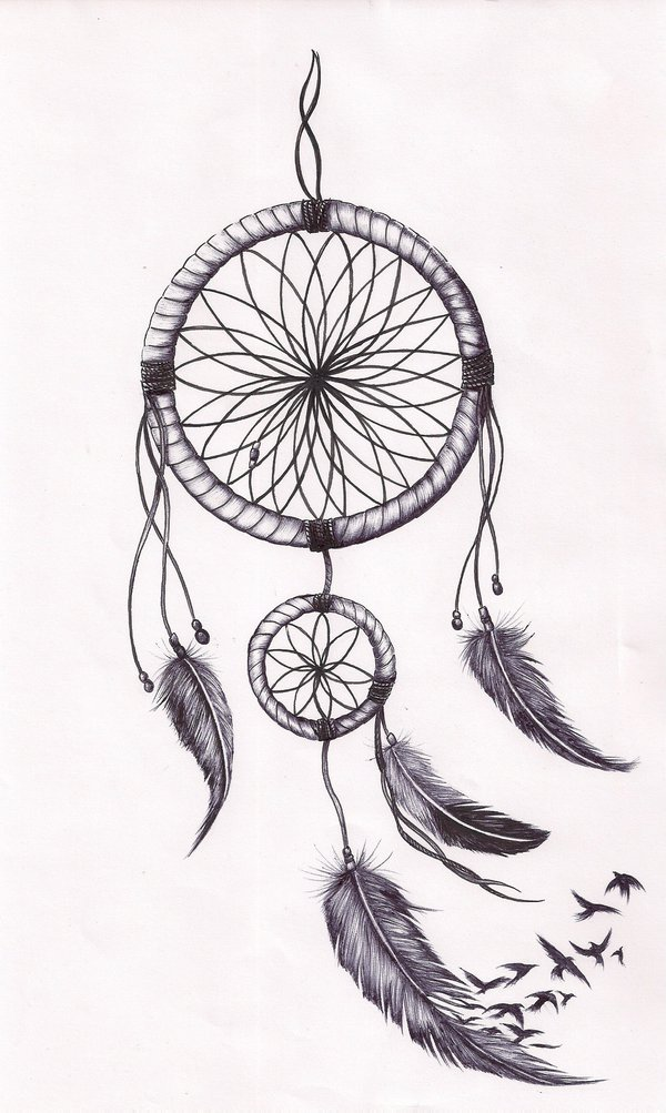 Birds Flying And Dreamcatcher Tattoo Design