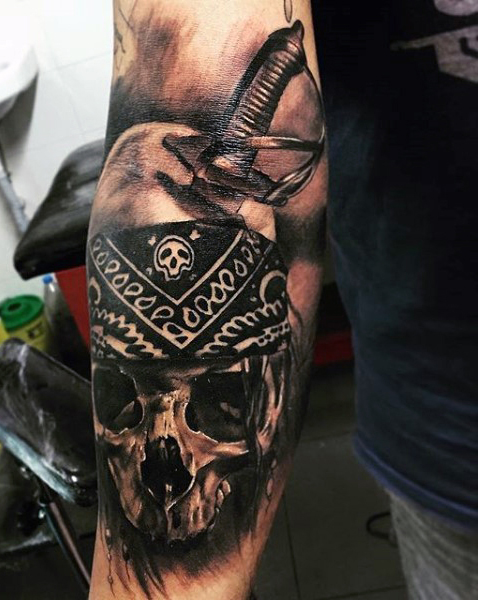 Gun In Pirate Skeleton Hand Tattoo Design For Sleeve