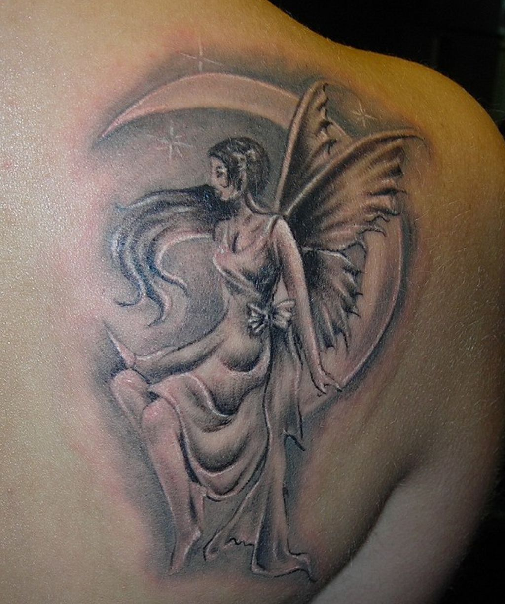 Image result for fairy tattoo with moon