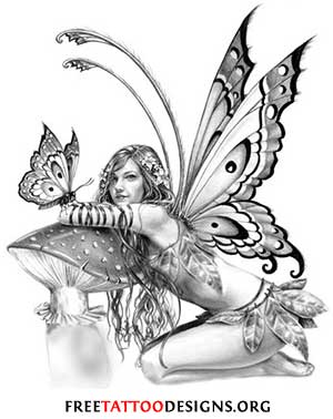 cab2e1a44 Black And Grey Gothic Fairy On Mushroom With Butterfly Tattoo Design