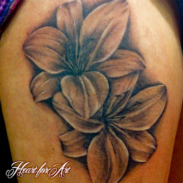 e888844c3 Black And Grey Lily Flowers Tattoo On Thigh by Heart For Art