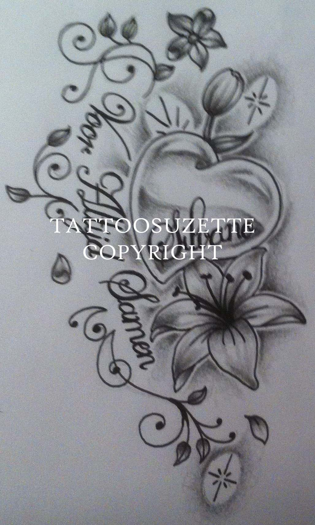 Black And Grey Lily Flowers With Butterflies Tattoo Design