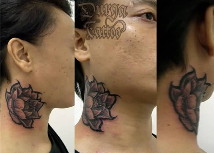 38 lotus tattoos for neck for Side neck tattoos