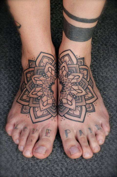Black and grey mandala lotus flower tattoo on feet mightylinksfo