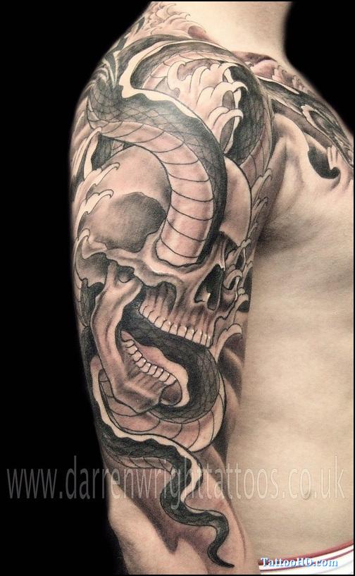 35 amazing skull and snake tattoos. Black Bedroom Furniture Sets. Home Design Ideas
