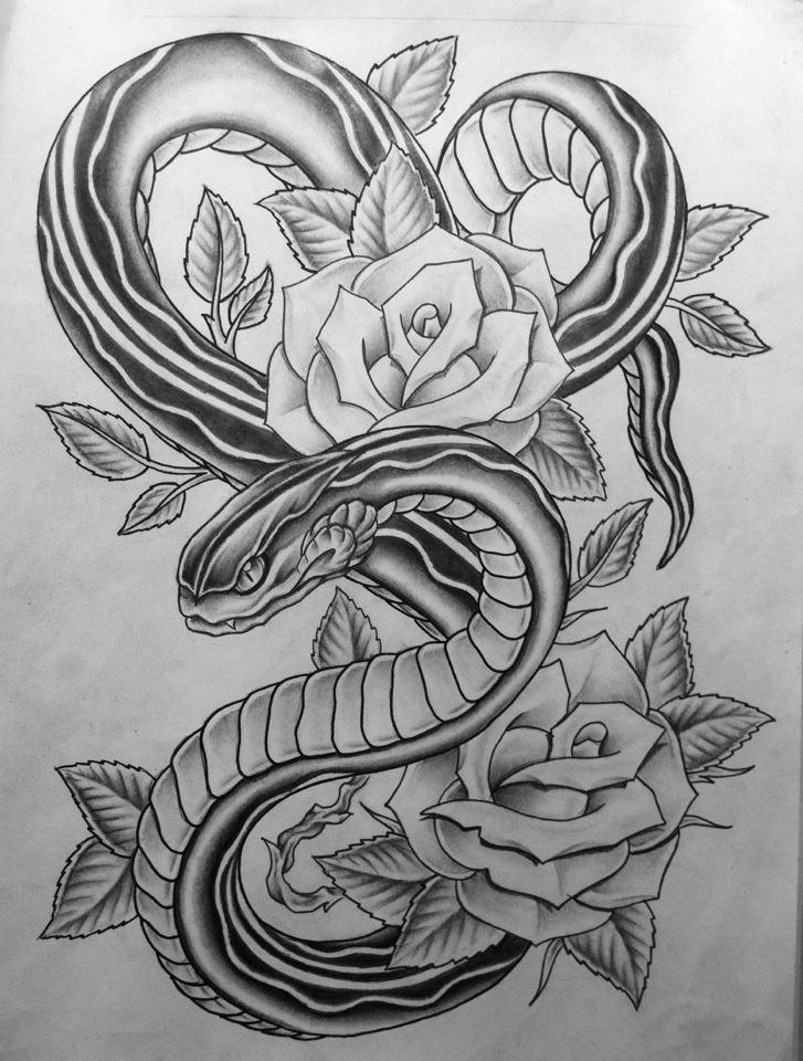 33+ Snake And Rose Tat...