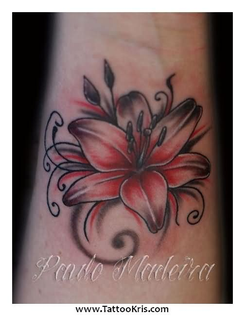 0683799b60483 Black And Red Lily Flower Tattoo Design For Wrist