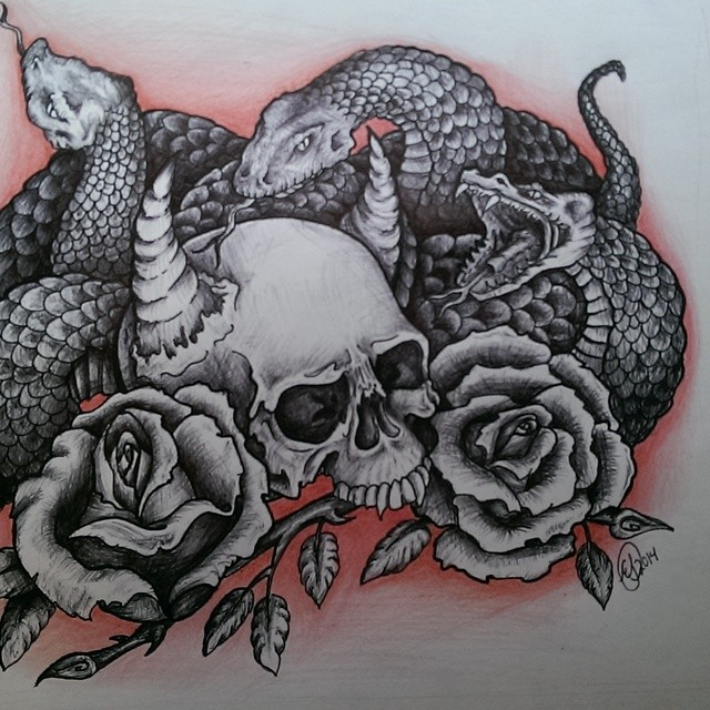 Black And White Snakes With Skull Roses Tattoo Design