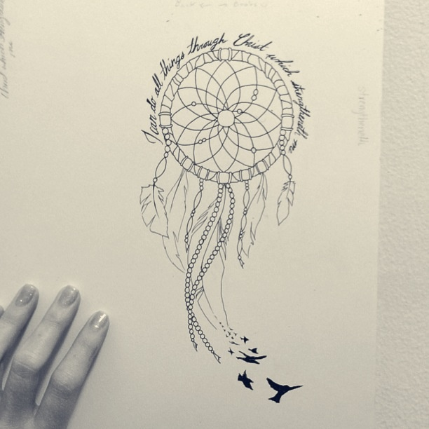 Black Birds And Dreamcatcher Tattoo Design