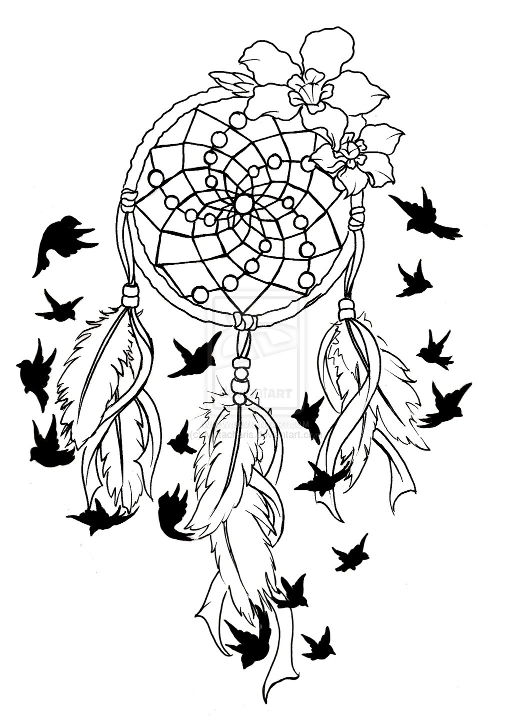 Black flying birds and dreamcatcher tattoo design pronofoot35fo Choice Image