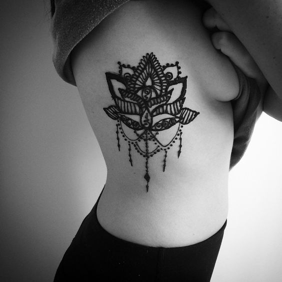 156963ccc Black Henna Lotus Flower Tattoo On Girl Right Side Rib