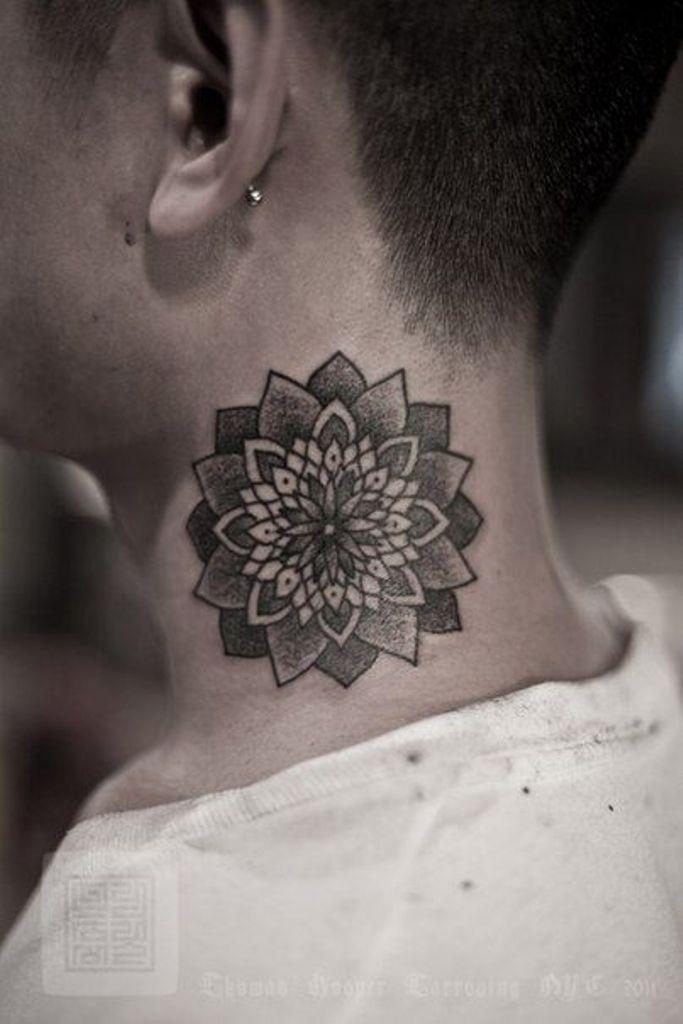 Black Ink Dotwork Mandala Lotus Flower Tattoo On Man Side Neck