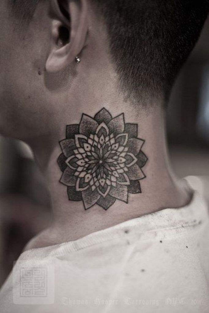 Black ink dotwork mandala lotus flower tattoo on man side neck mightylinksfo