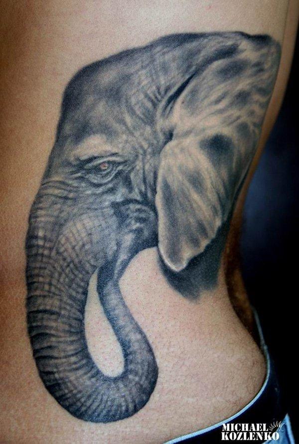 c6fc5a0a3 Black Ink Elephant Head Tattoo On Man Left Side Rib