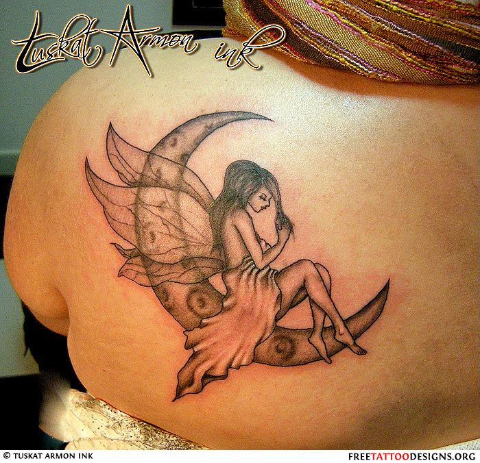 39 fairy tattoos with moon for Black moon tattoo