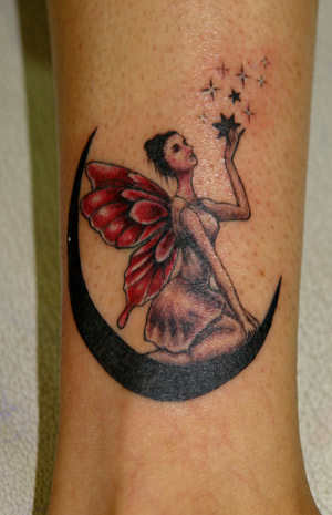 19 fairy with stars tattoos ideas for Half moon and star tattoo
