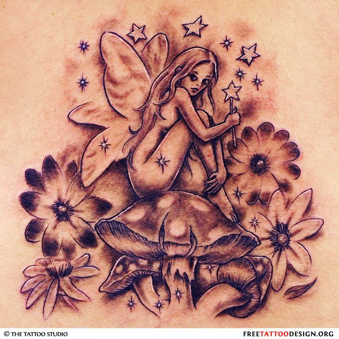 47 fairy with flowers tattoos ideas. Black Bedroom Furniture Sets. Home Design Ideas