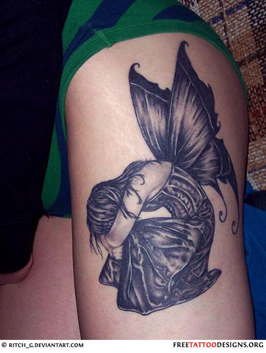 33 fairy tattoos on leg. Black Bedroom Furniture Sets. Home Design Ideas