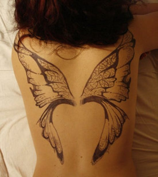 e5c7bf69904c0 Black Ink Fairy Wings Tattoo On Girl Upper Back