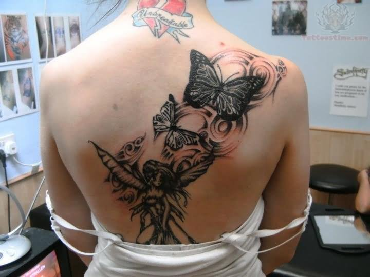 545e17ebe Black Ink Fairy With Flying Butterflies Tattoo On Girl Upper Back