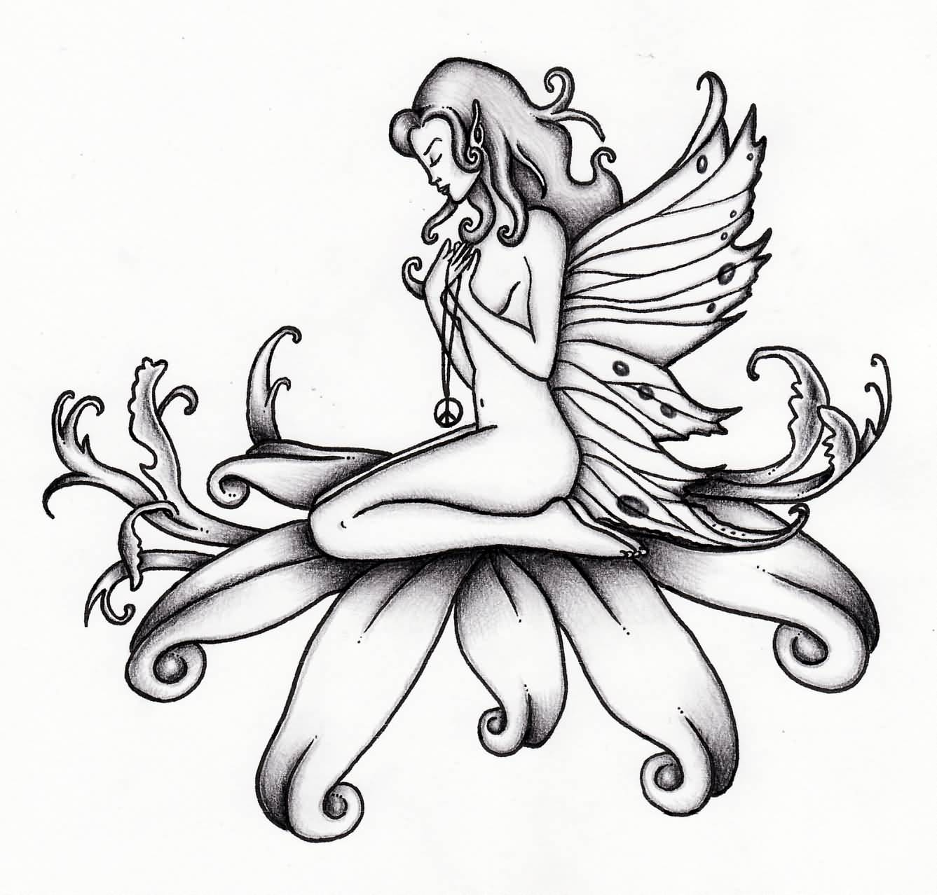 Fairies tattoos designs - Black Ink Flying Fairy On Flower Tattoo Design
