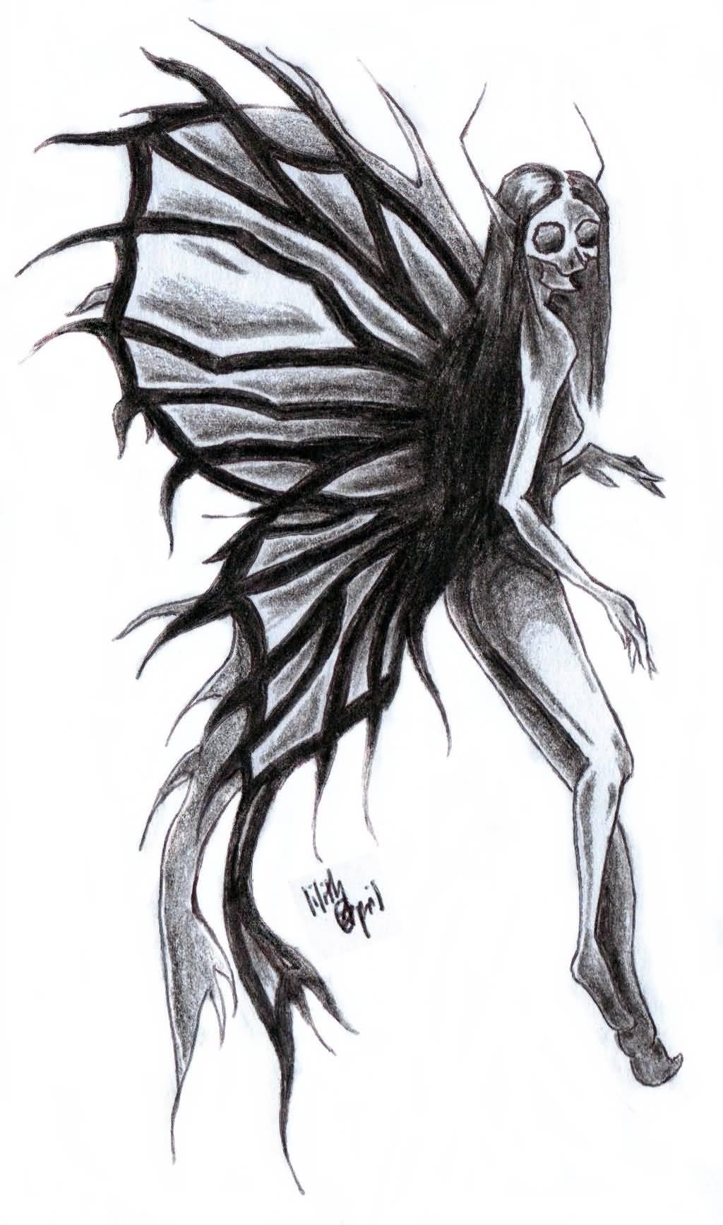 57c1703cd Black Ink Gothic Fairy Tattoo Design