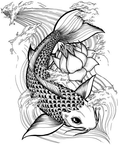 Black Ink Koi Fish With Lotus Tattoo