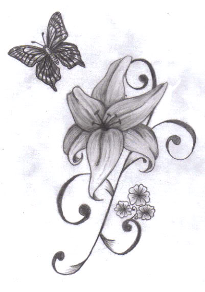 7069d7a30 Black Ink Lily Flower With Butterfly Tattoo Design