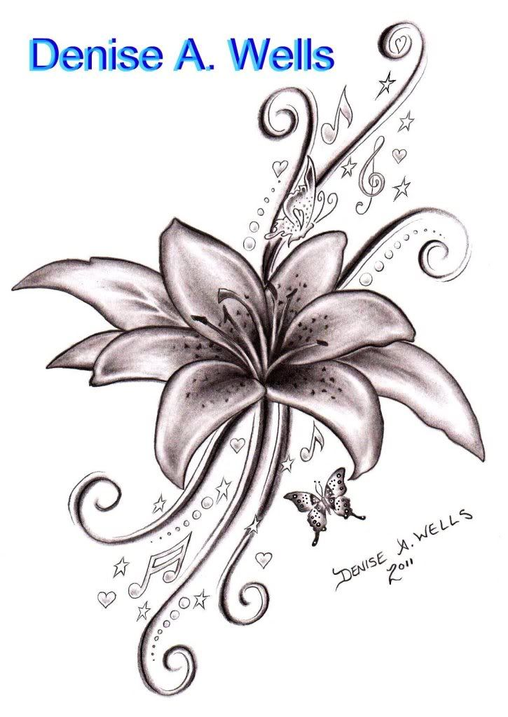 black ink lily flower with flying butterflies tattoo design by denise wells. Black Bedroom Furniture Sets. Home Design Ideas