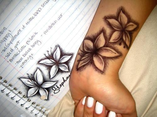175d008cf976e Black Ink Lily Flowers Tattoo On Girl Left Wrist