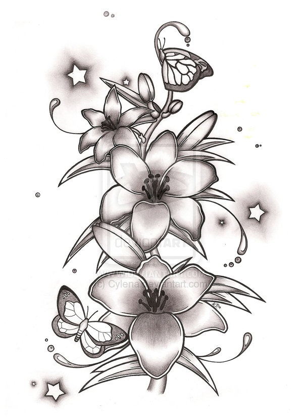 Tattoo Outlines Flowers Black And White: 43+ Lily With Butterfly Tattoos Ideas