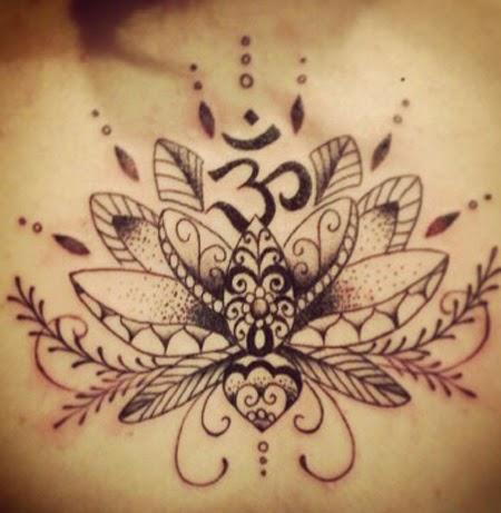 Black Ink Lotus Flower Tattoo Design For Female