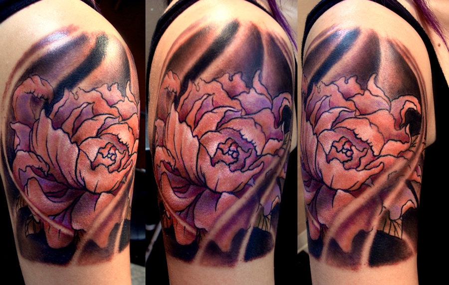 48 lotus tattoos ideas for men black ink lotus flower tattoo on man right shoulder mightylinksfo