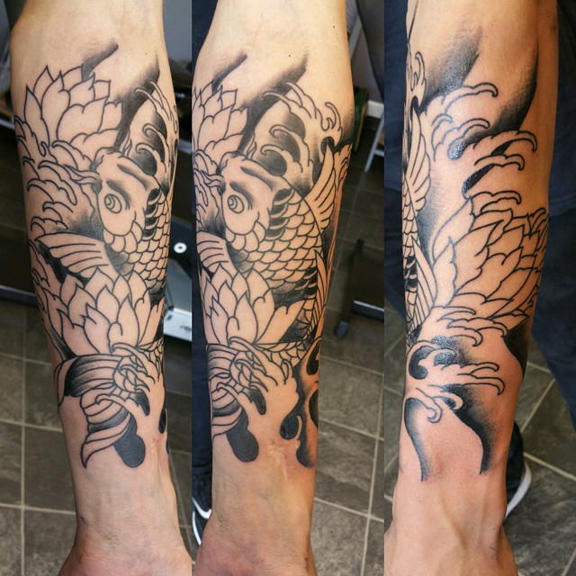 Black Ink Lotus Flowers With Koi Fish Tattoo Design For Sleeve