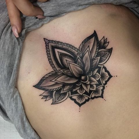 Black Ink Mandala Lotus Flower Tattoo Design For Girl Side Rib