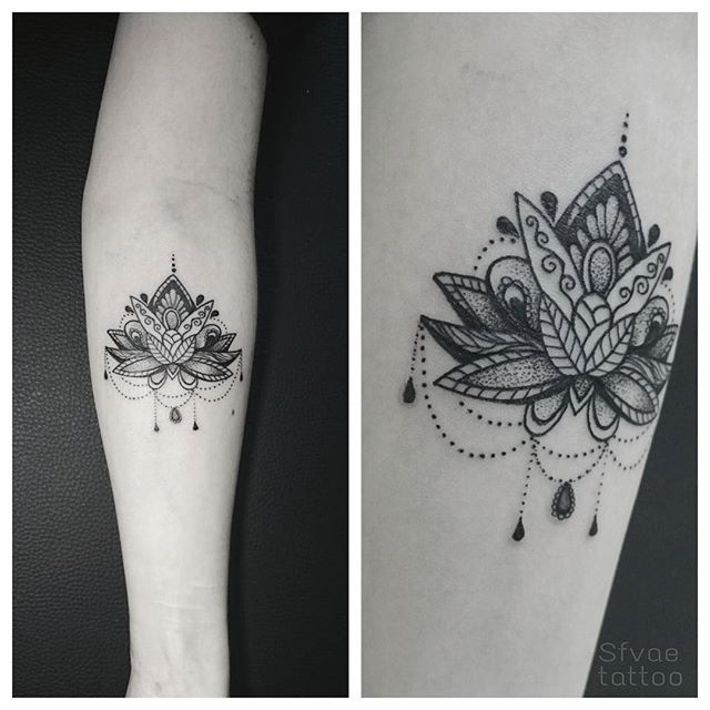 Black Ink Mandala Lotus Flower Tattoo On Right Forearm