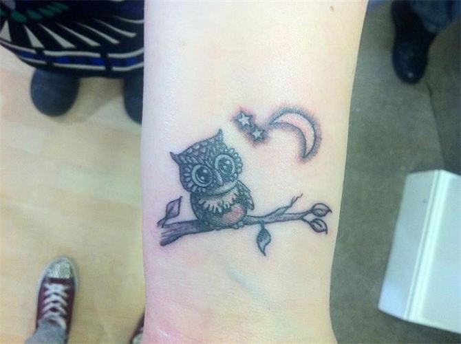 48 best owl tattoos on wrist for Half moon and star tattoo