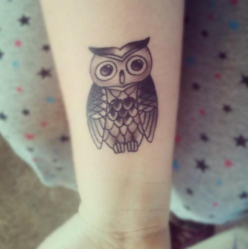 4b7a771fd2f40 Black Ink Owl Tattoo Design For Wrist