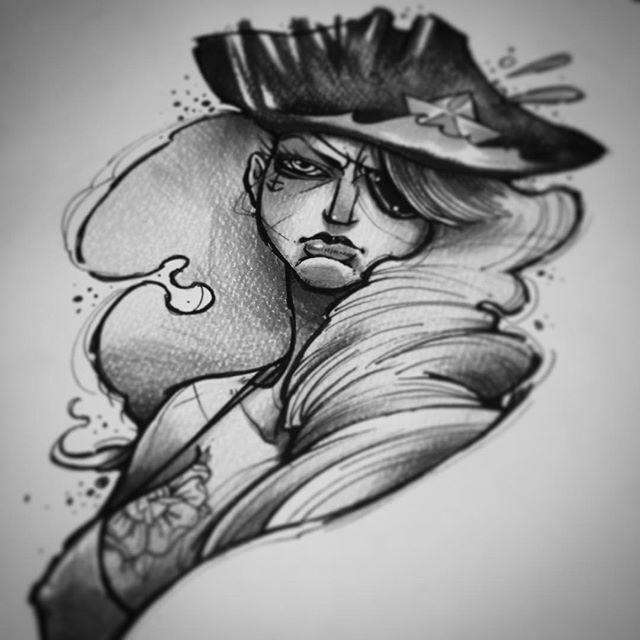 1bb9ac716 Black Ink Pirate Girl Tattoo Design