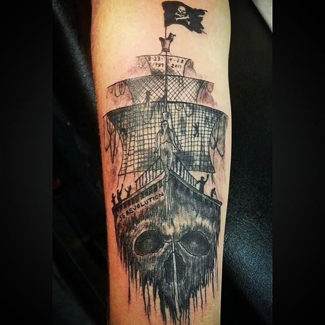 Black Ink Pirate Ship Tattoo Design For Forearm