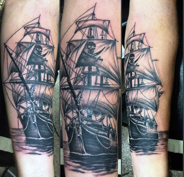 Black Ink Pirate Ship Tattoo Design For Sleeve