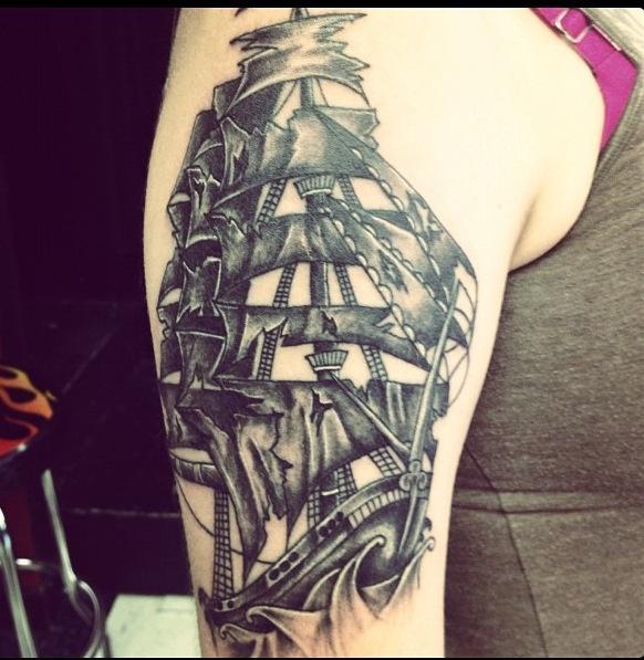 black ink pirate skeleton with octopus tattoo design for half sleeve. Black Bedroom Furniture Sets. Home Design Ideas