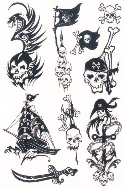 black ink pirate skull with ship tattoo flash. Black Bedroom Furniture Sets. Home Design Ideas